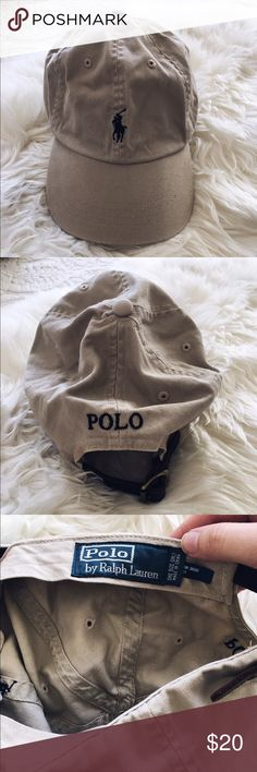 Polo Ralph Lauren Adjustable Baseball Hat This Ralph Lauren tan Baseball hat is perfect to keep the sun off your face! It's in great condition but has a light red stain on it that can easily be removed. Love the hat but not the price? Feel free to make an offer! Polo by Ralph Lauren Accessories Hats