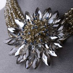 """Mirror plated   approx 654 x round pewter crystals   approx 30 x petal faceted pewter crystals   approx 31 x grey seed beads  41cm (16"""")  Polished finish"""