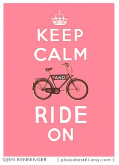 keep Calm and Ride On in Pedal Pusher Pink  small por pleasebestill