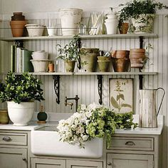 and a charming gardening shed with wonderfully ornate bracketed shelves and a porcelain sink overflowing with delicate late-spring blossoms . . .
