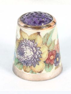RP: German Sterling Enamel Thimble with Amethyst  Top - antiquehelper.com
