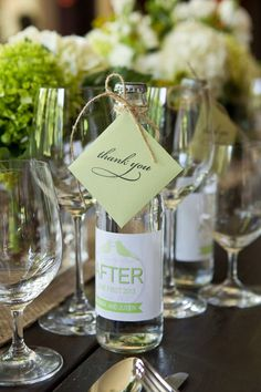 Bottled beverages as wedding favors {Aida Krgin Photography}