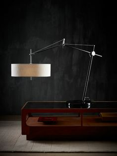 kingston table lamp - in front of lovely dark wall Interior Lighting, Modern Lighting, Lighting Design, Everything Is Illuminated, A Table, Table Lamps, Lamp Design, Interiores Design, Lamp Light