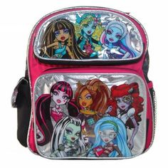 Small Backpack - Monster High - 8 Girls Silver School Bag New 80055