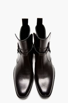 SAINT LAURENT Black Leather Harness Ankle Boot