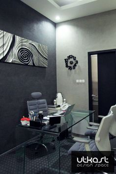 Monochromatic office design by UTKAST team