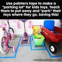 Use painters tape to create parking spaces for even the kids vehicles. Toddler Tips and Tricks – Hacks for New and Old Moms on Frugal Coupon Living. #parentingadviceboys