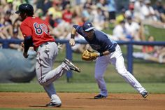 Tampa Bay Rays third baseman Evan Longoria, right, throws to second to force out Minnesota Twins Alex Presley to end the inning, as Twins Jermaine Mitchell (80) tries to advance, on a ground out by Brian Dozier in the second inning of an exhibition baseball game in Port Charlotte, Fla., Tuesday, March 11, 2014. (AP Photo/Gerald Herbert)