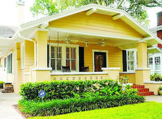 Decorating Your American Bungalow Style House Craftsman Exterior, Craftsman Style Homes, Craftsman Bungalows, Craftsman Kitchen, Craftsman Houses, Yellow House Exterior, House Paint Exterior, Exterior Design, Exterior Colors
