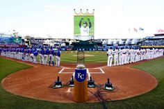 The trophy's new home:   The World Series trophy is displayed before the opening-day game between the Kansas City Royals and the New York Mets at Kauffman Stadium in Kansas City, Mo., on April 3.  -      © Jamie Squire/Getty Images