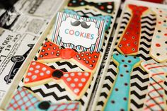 Cute tie cookies at a Little Man Mustache Bash #littleman #mustachepartycookies