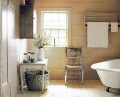 salle de bain de style vintage rustique - Salle De Bain Blanche Et Verte