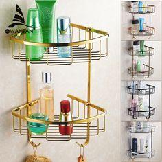 Wall Mounted Easy Installation  Golden Brass Bathroom Soap Basket Bath Shower Shelf  Basket Holder Building Material HJ-826 #Affiliate