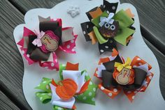 4 Large Thanksgiving Boutique Bows - Fall 2011 Collection - Large Triple Layer Spiked Bow. $24.99, via Etsy.