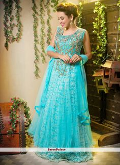 Nice Turquoise Blue Shaded Net Long Gown