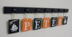 Navy Orange Nursery Nautical Decor - Kids Name Signs with 7 Navy Blue Wooden Peg Hanger  - Personalized for Baby PETER with Sailboats
