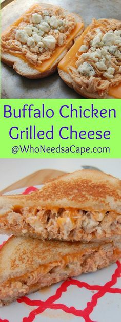 AD Make Buffalo Chicken in your Slow Cooker and then amaze your family by making it Grilled Cheese - comfort food the way it should be made! ArtesanoBread More Nice Pins Press I Love Food, Good Food, Yummy Food, Tasty, Grilled Cheese Recipes, Chicken Recipes, Grilled Cheeses, Buffalo Chicken Grilled Cheese, Soup And Sandwich