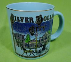 Silver Dollar City Coffee Mug Tea Cup Hot Chocolate Blue Horse Carriage #