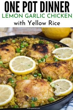 A one-pot dinner that is loaded with flavor. Lemon garlic chicken with yellow rice is a total comfort food. Tender rice, juicy chicken, and tons of flavor in each bite. Whip this easy weeknight meal up any day of the week. #chicken #skillet #onepot #dinner #lemongarlic #yellowrice #easy #ideas #foodblogger
