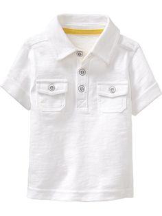 Slub-Knit Double-Pocket Polos for Baby,100% organic cotton
