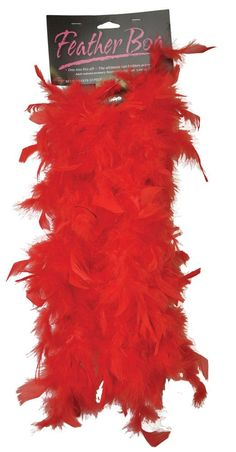 Who can resist a feather boa? Here is a 5-foot-long economy feather boa, perfect accessory for that flapper costume! Red feathers.