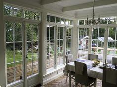 Vackra fönster och dörrar | www.allmoge.se Gazebo On Deck, Pergola, Sunroom Addition, House With Porch, Townhouse, Sweet Home, House Ideas, New Homes, Windows