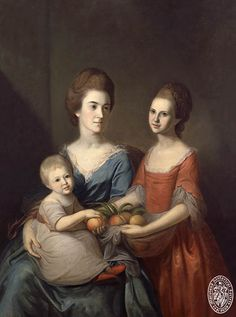"""Anne Baldwin Chase (Mrs. Samuel Chase) and her daughters Anne and Matilda Chase.  Also known as """"The Family of 'Old Bacon Face'""""."""