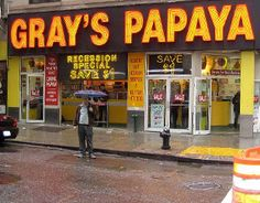 Gray's Papaya: Hit this place for higher quality NYC hotdogs than you find on the carts. The dogs were worth the trip, the juice wasn't amazing to me.