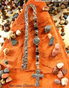 Black Onyx & Crystal Cross Bookmark by StarshineBeads   #christian #christiangifts #bookmarks #books #bookaccessories #beadedbookmark #silverbookmark #uniquegifts #cross #christ #handmade #Etsy