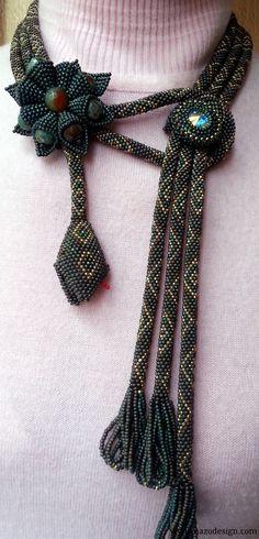 Crochet Bead Rope Necklace-Cobra Headed Snake Necklace. $250.00, via Etsy.