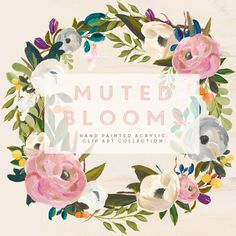 Hand drawn clip art flowers - Muted Blooms Acrylic Clip Art Collection  A large collection of hand painted individual acrylic pieces that can be put together to make beautiful and bright creations. This is a large clip art kit with 24 individual hand painted acrylic pieces, including florals, berries, leaves and stems. There are so many combination options the possibilities are really endless. We have made sure that all the elements compliment each other and have included some of the same…
