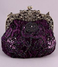 Vintage Victorian Purple Antique Gold Sequin Beaded Evening Bag Wedding Handbag | eBay