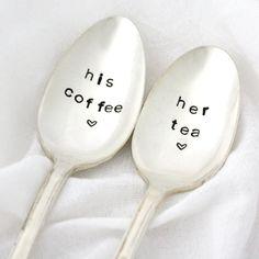 His Coffee Her Tea hand stamped spoon set by MilkandHoneyLuxuries, $25.00
