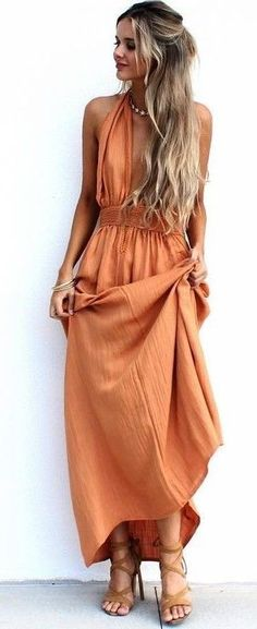 #summer #musthave #outfits | Lovely Orange Maxi Dress