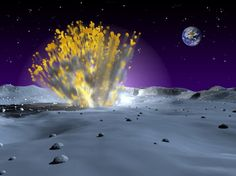 An artist's rendering of a small but powerful meteor strike on the Moon. (Steve Roy, Marshall Space Flight Center)