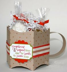 Elaine's Creations: Cocoa Mug using Pillow Box die, or the Pillow Box punch board.