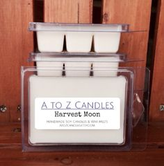 No. 834 | HARVEST MOON | Natural Soy Wax Melts | 2.75 oz Clamshell | Hand Poured | Vegan | Eco-Friendly | Fall | Thanksgiving by AtoZCandles on Etsy https://www.etsy.com/listing/260563438/no-834-harvest-moon-natural-soy-wax