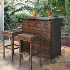 3PC Wicker Bar Set Patio Outdoor Backyard Table & 2 Stools Rattan