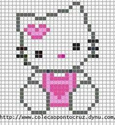 Předlohy na vyšívání: Hello Kitty - Do it my self Simple Cross Stitch, Cross Stitch Baby, Cross Stitch Animals, Cross Stitch Charts, Cross Stitch Designs, Cross Stitch Patterns, Easy Perler Bead Patterns, Perler Bead Art, Loom Patterns