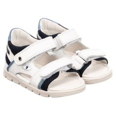bac39de9553598 Falcotto by Naturino - White   Blue Leather Sandals