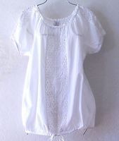 NEW~White Cotton & Crochet Lace Peasant Blouse Hem-Tie Boho Plus Top~18/XL/1X