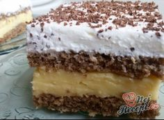 Famózní smetanový dort s Eclair kuličkami Chocolate Box Cake, Toblerone, Square Cakes, Pudding Desserts, Nutrition And Dietetics, Deep Dish, Lemon Curd, Yummy Cookies, Food And Drink