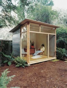 "Shed DIY - Edgar Blazons off-the-shelf ""prefab"" project. This would work. Now You Can Build ANY Shed In A Weekend Even If You've Zero Woodworking Experience! Backyard Studio, Garden Studio, Backyard Retreat, Modern Backyard, Modern Gazebo, Backyard Cabin, Modern Shed, Modern Kids, Modern Room"