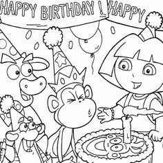 Coloring Dora Birthday Party Boots Free - buy large coloring book and crayons for kids to color