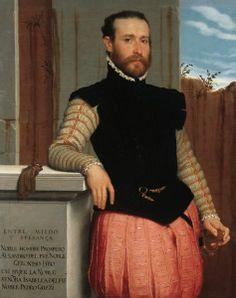 Prospero Allesandri displays the newer style of jerkin, with short, pointed bases. He also wears fashionable paned trunk hose.