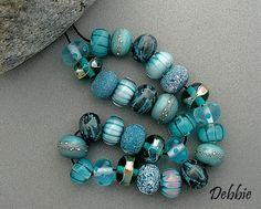 "Pretty Aqua ~ Handmade Organic Lampwork Glass Set of 28 Beads (made to order) shades ~ Teal+Aqua size app..50"" diameter, DSG Beads by debbiesanders Etsy<3<3<3FABULOUS<3<3<3"