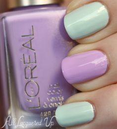 Loreal Pistachio Dream and Lacey Lilac nail polish from the Versailles romance collection