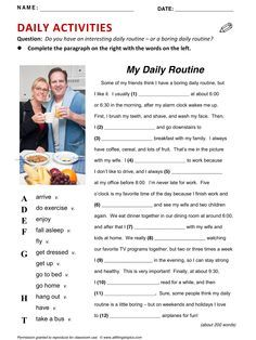 Daily Activities, vocabulary, ESL, English phrases, http://www.allthingstopics.com/daily-activities.html