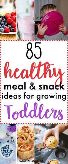 85 Healthy Meal and Snack Ideas for Growing Toddlers | Get the best and healthiest toddler snack ideas as well as meal ideas for toddlers. #toddlersnack #snackideas #mealideas #toddlermealideas Healthy Snacks To Buy, Healthy Toddler Snacks, Healthy Meal Prep, Healthy Dinner Recipes, Snack Recipes, Healthy Eating, Snacks Kids, Toddler Lunches, Healthy Lunches