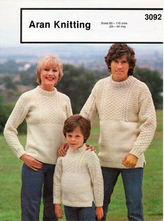 womens mens childrens aran sweater knitting pattern PDF ladies Guernsey jumper crew neck Vintage 70s 24-44 inch aran worsted 10ply download by coutureknitcrochet on Etsy